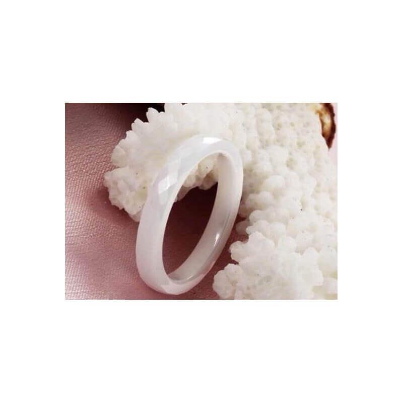 Bague Alliance Facettée En Céramique Blanche - T52 - Bijoux Femme CDE