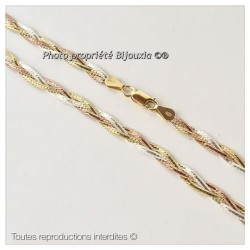 Collier Ras De Cou Tressé en Vermeil  3 Tons Ors jaune blanc rose Bijoux Femme