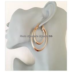 Boucles D'oreilles Créoles Double Anneaux Plaqué Or 18 Carats Bijoux Femme