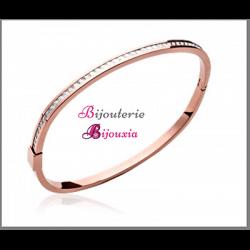 Bracelet Jonc ouvrable  ZIRCONIUM Acier & ROSE  6,2 cm Bijoux Femme