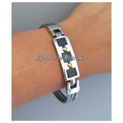 Bracelet Carbone et  Acier Inoxydable 316L - Bijoux Homme - NEUF