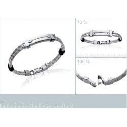 Bracelet Caoutchouc et Acier Inoxydable 316L - Bijoux Homme - NEUF - 6,6CM