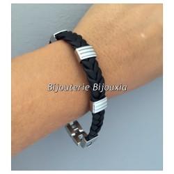Bracelet CUIR Tressé et Acier Inoxydable 316L  21 CM  Bijoux Homme  NEUF