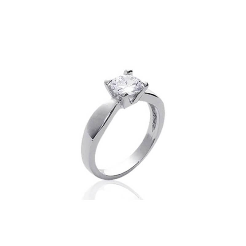 Bague Solitaire- Cristal Zirconium- Argent Massif 925 Rhodié Garantie-femme T56