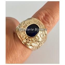 Bague Chevalière  Oz Saphir Plaqué Or 18 Carats Taille 66 Bijoux HOMME NEUF