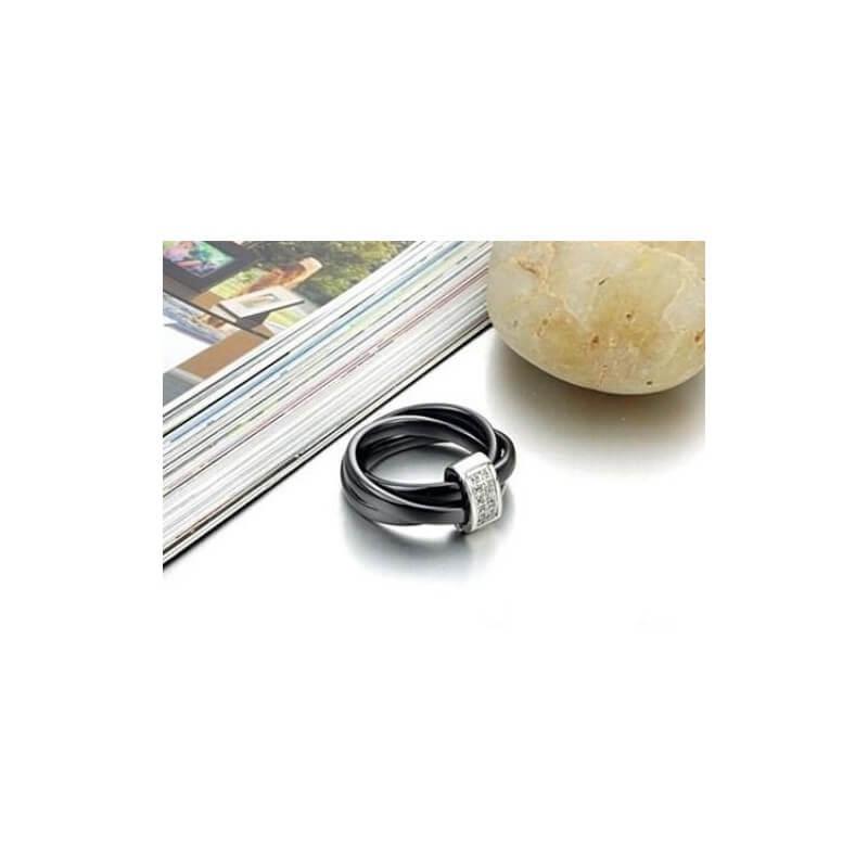 Bague 3 Anneaux En Céramique Noire T62 Oxyde De Zirconium Bijoux Femme