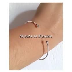 Bracelet Jonc Ouvert  Ajustable  Argent Massif 925/000 Rhodié Bijoux Femme