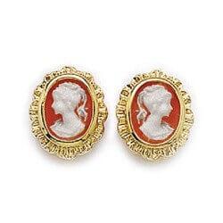 Boucle D'oreilles Camé Rouge Plaqué Or 18 Craats Garanti 10 Ans Bijoux Femme