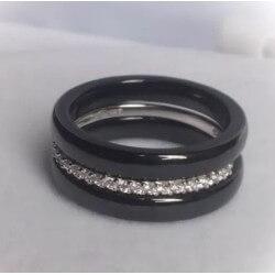Bagues Alliances Pure Céramique Et Argent 925- Zirconium-Bijoux Femme- T54-