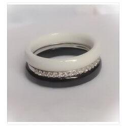 Bagues Alliances Pure Céramique Et Argent925 -Zirconium-Bijoux Femme-T50à 60