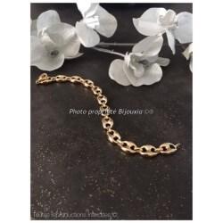 Bracelet Maille Grain De Café Large 22,5CM Plaqué or 18 Carats Bijoux Homme