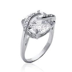 Bague Gros cristal Carré Oxyde Zirconium Argent 925 Bijoux T50-52-54-56-58-60