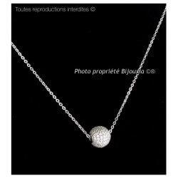 Magnifique Collier Boule Microserti  Argent Massif 925/1000 & Zirconium Bijoux