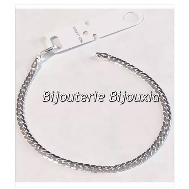 Bracelet Maille anglaise En Argent Massif 925/000 Rhodié Bijoux Femme
