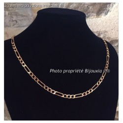 Chaîne Maille Figaro 55cm - Plaqué or 18 Carats  Garanti 10 ans  Bijoux Homme