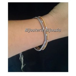 Bracelet Moderne Fin En Acier PVD Doré -  inoxydable - Bijoux Femme NEUF