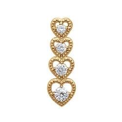 Pendentif Série Coeurs Zirconium Plaqué Or 18 carats Garanti 10 Ans Bijoux Femme