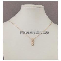 Collier chaîne pendentif Série Coeurs Zirconium Plaqué Or 18 carats Bijoux Femme