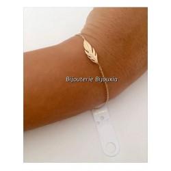 """Bracelet tendance """"PLUMES""""  Plaqué Or 18 Carats  Garanti 10 ans  Bijoux Femme"""
