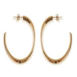 Boucles D'oreilles créoles ouvertes Plaqué Or 18 CARATS  Bijoux Femme