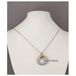Collier Pendentif Triples Anneaux ZIRCONIUM Plaqué Or 18 carats  Bijoux Femme