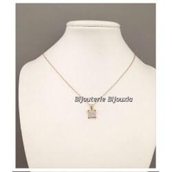 Collier Pendentif Pavé Microserti ZIRCONIUM Plaqué Or 18 Carats 750/1000 Bijoux