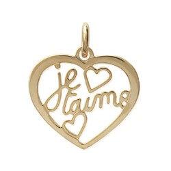 """Pendentif Cœur """"Je t'aime """"  Plaqué Or 18 Carats 750/1000 Garanti 10 Ans Bijoux"""