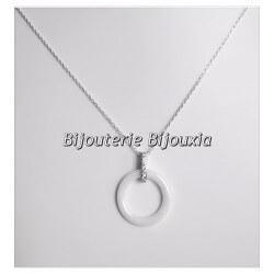 Collier Pendentif En Céramique Et Zirconium Argent Massif 925/000 Bijoux Femme