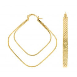 Boucles D'oreilles Créoles design effet double anneaux Plaqué Or 18 Carats NEUF
