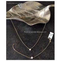 PARURE Collier + Bracelet Solitaire Plaqué Or 18 carats 750/1000 Bijoux