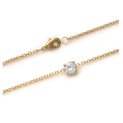 Bracelet Cristal Solitaire Zirconium Plaqué Or 18 carats 750/1000 Bijoux