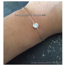 Bracelet Cristal Solitaire Zirconium rond Plaqué Or 18 carats 750/1000 Bijoux