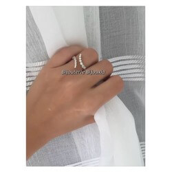 Bague Argent Massif 925/1000 Rhodié Taille 54 ZIRCONIUM Blanc Bijoux Femme