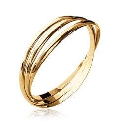 Bracelet Triple joncs Entrelacés Plaqué Or 18 Carats 750/000 6,2cm Bijoux Femme