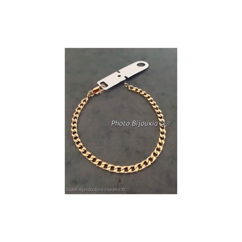 Bracelet Gourmette 18Cm Plaqué or 18 Carats 750/000 Garanti 10 ans Bijoux NEUF