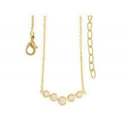 Collier chute cristaux solitaires Zirconium Plaqué Or 18 carats Bijoux Femme