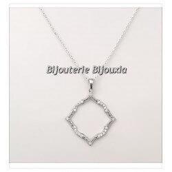 Magnifique Chaîne + Pendentif  Argent Massif 925/1000 & Zirconium Bijoux Femme
