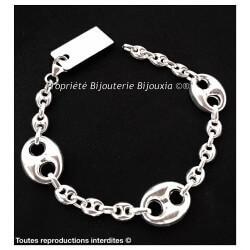 Bracelet 19CM Alternance Gros Grain de Café Argent Massif 925 Bijoux Femme