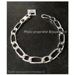 Bracelet Large Maille Figaro 23 cm Argent Massif 925/1000 Rhodié  Bijoux Homme