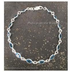 Magnifique bracelet cristal Aigue-Marine Argent Massif 925/1000 Bijoux Femme