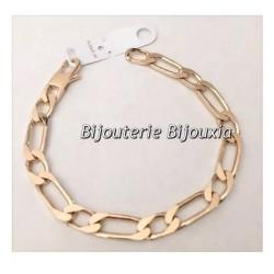 Bracelet Large Figaro 23 cm Plaqué or 18 Carats garanti 10 ans  Bijoux Homme