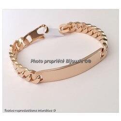 Bracelet HOMME Gravure Identité Gourmette 22 CM  Plaqué or 18 Carats 750/1000
