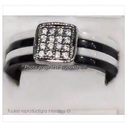 Bague Céramique Noir&Blanc 4 Anneaux Taille 56 Oxyde De Zirconium Bijoux Femme