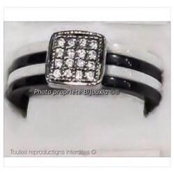 Bague Céramique Noir&Blanc 4 Anneaux Taille 58 Oxyde De Zirconium Bijoux Femme
