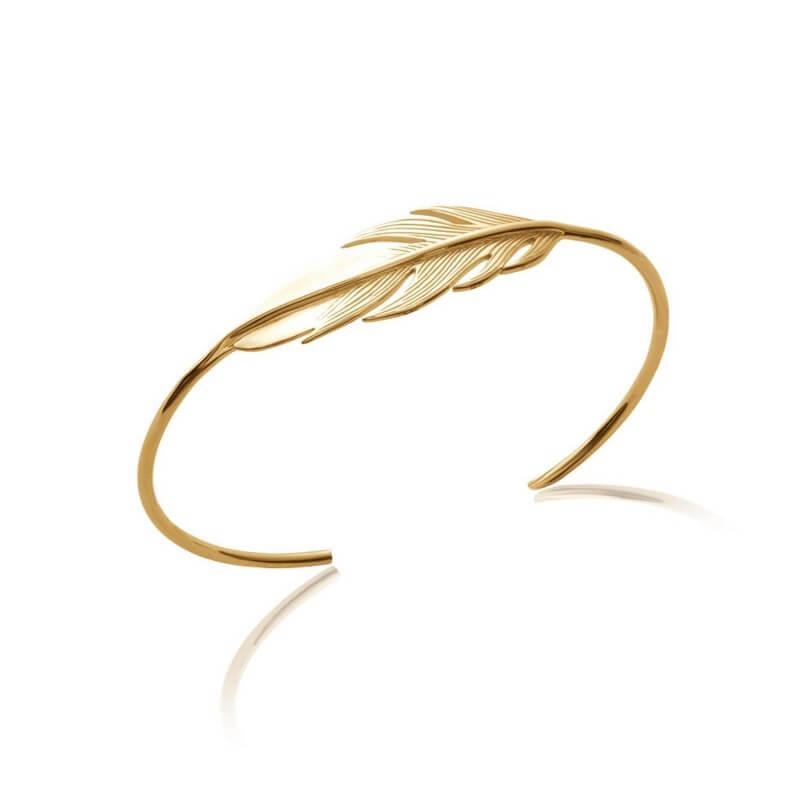 Bracelet Jonc Ouvert PLUME Plaqué or 18 Carats 750/1000 Bijoux Femme NEUF