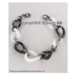 Bracelet en pure Céramique bicolore  Noir et blanc  Bijoux Femme