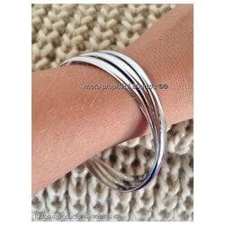 Bracelets Triple DEMI-JONCS 6,6 MM Argent Massif 925/1000  Rhodié Bijoux Femme