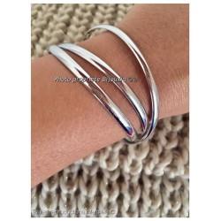 Bracelets Triple DEMI-JONCS 6,2 MM Argent Massif 925/1000  Rhodié Bijoux Femme