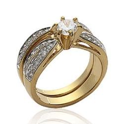 Bague Solitaire Double anneau Plaqué or 18 CARATS 750/000 5 Microns Bijoux Femme