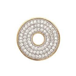 Pendentif Cercle Donut ZIRCONIUM MICROSERTI Plaqué Or 18carats  Bijoux Femme